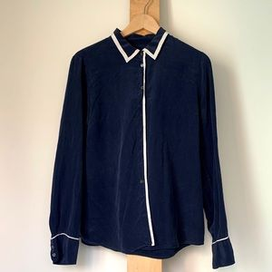 JCrew navy silk shirt with contrast piping 12